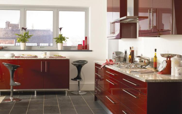 Gloss Kitchen Range  Haddington Burgundy